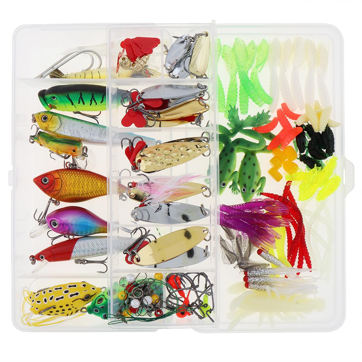 Fishing lure set kit lots with tackle box fishing lures for Fishing lure kits