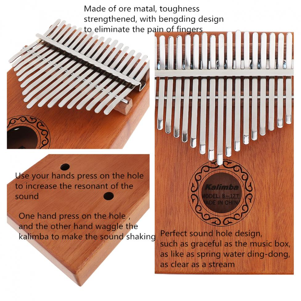 17 Keys Kalimba Single Board Mahogany Thumb Piano Mbira Keyboard Instrument Tool 7